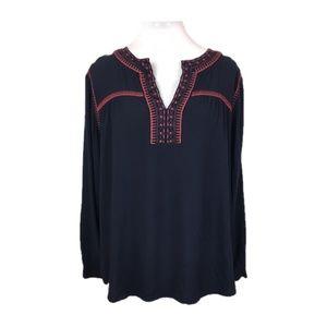 Loft Sz L Navy blue embroidered peasant blouse